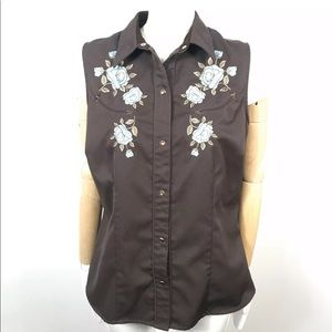 Roper western shirt embroidered floral sna…